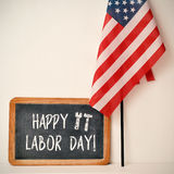 Text happy labor day and American flag Royalty Free Stock Photos