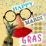 Text happy mardi gras in contemporary art collage. Text happy mardi gras, fake black eyeglasses with a nose and a mouth, and a pineapple with sunglasses, on a stock images