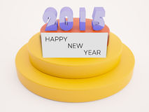 2015 text with happy new year on card. Metallic 2015 text on two color podium with happy new year card Royalty Free Illustration
