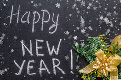 Text Happy New Year 2017 on chalkboard Royalty Free Stock Image