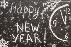 Text Happy New Year 2017 on chalkboard Royalty Free Stock Photography