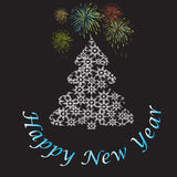 Text Happy New Year with fireworks and Christmas tree. Christmas tree made of snowflakes and fireworks on a black background Royalty Free Stock Photos
