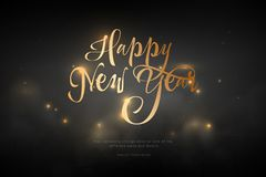 Text Happy New Year golden color. Low poly wireframe art on black background. Concept for holiday or magic or miracle. Vector. Text Happy New Year golden color royalty free illustration
