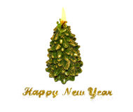 Text Happy New Year of golden glitter and burning candle in the shape of a Christmas tree on white background Stock Photo