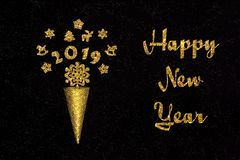 Text happy new year Golden waffle cone with figures 2019. New year composition. Text happy new year and golden waffle cone with figures 2019, christmas stock photography