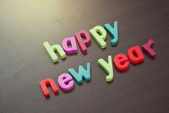 Text of happy new year. New year`s eve celebration. Royalty Free Stock Image