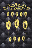 Text Happy New Year written on golden glossy balloons on black leather background Royalty Free Stock Image