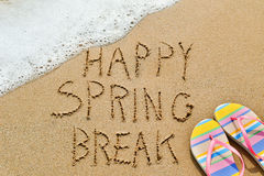 Text happy spring break in the sand Royalty Free Stock Image