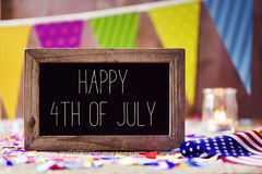 Text happy 4th of july and american flag royalty free stock photography