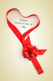 Text happy valentines day and ribbon forming a heart Stock Image