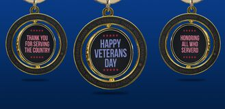 Text of Happy veterans day and thank you for serving the country on badge