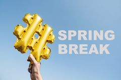 Text hashtag Frühjahrsferien lizenzfreie stockfotografie