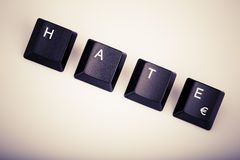 Text hate formed with computer keyboard keys Stock Photos