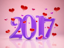 2017 text and hearts on pink background. 3D illustration.  Stock Photo