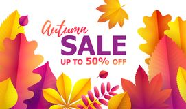 Autumn discounts from 50. Autumn sale flyer template for your text. Vector Background of falling utumn leaves. Text Hello Autumn, discounts from 50. Autumn sale Vector Illustration