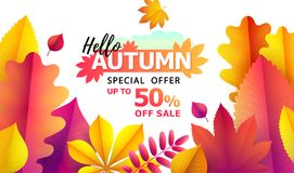 Text Hello Autumn, discounts from 50. Autumn Seasonal sale. Up to 50 off. Vector Background of falling leaves. Text Hello Autumn, discounts from 50. Autumn Stock Illustration