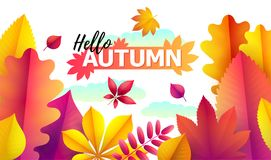 Text Hello Autumn, discounts from 50. Autumn Seasonal sale. Up to 50 off. Vector Background of falling leaves. Text Hello Autumn, discounts from 50. Autumn Royalty Free Illustration