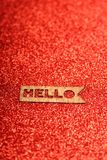 Text Hello on a red background Royalty Free Stock Image