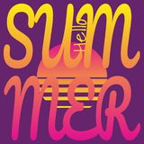 Text Hello Summer on background of sunset sun. Vector drawing in retro-futuristic style, neon color palette. stock illustration