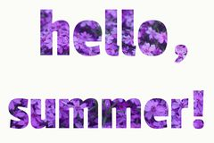 Text HELLO SUMMER made of purple summer flowers background royalty free stock images