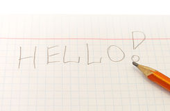 Text Hello word written by pencil Stock Images