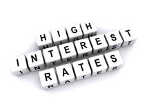 High interest rates. Text 'high interest rates' inscribed in black uppercase letters on small white cubes laid out in three rows upon a white background Royalty Free Illustration