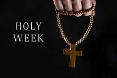 Text Holy Week and man with a rosary royalty free stock photo