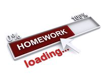 Homework loading. Text 'homework' in a silver rectangular frame marked 0% to 100% in white uppercase letters on brown and underneath the frame text 'loading' royalty free illustration