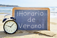 Text horario de verano, summer time in spanish Royalty Free Stock Photography