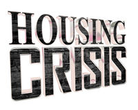 Text on housing crisis on a white background. 3d rendering. Text on housing crisis on a white background Stock Image