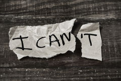 Text I can in a piece of paper, black and white Royalty Free Stock Photo