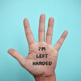 Text I am left-handed in the palm of the hand Stock Images