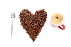 Text I love coffee in beans and cup Stock Images