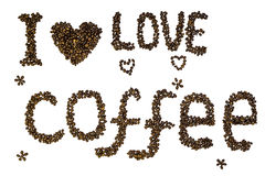 Text & x22;I love coffee& x22; made of roasted coffee beans isolated on a white background. Lettering stock photography