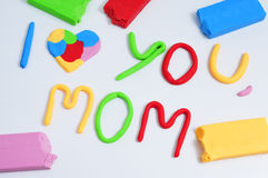 Text I love you mom, made in modeling clay Royalty Free Stock Photography