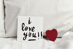 Text I love you in a note Royalty Free Stock Photos