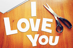 Text I Love You. Scraps of paper Royalty Free Stock Images