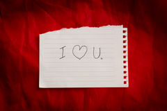 Text I love you on short note paper with tape Royalty Free Stock Image