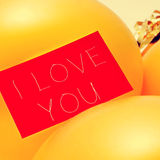 Text I love you in a signboard, with a filter effect Royalty Free Stock Photo