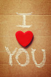 Text I love you, written in chalk on paper. Royalty Free Stock Photography