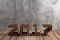 text 2017 i Wood stil på rått cement Royaltyfria Bilder