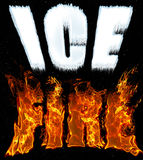Text Ice and Fire in icy white and fiery red letters on black cosmic background. Text Ice and Fire in cold, icy white and hot, fiery red letters on the black Stock Photo