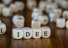 Idea written with wooden cubes royalty free stock image