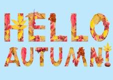 Text illustration: Hello autumn! Royalty Free Stock Photography