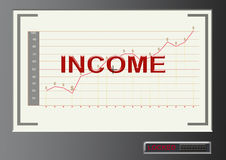 Text income with graph and dollar symbol target locked screen. Text income with graph and dollar symbol in modern millennium style target locked screen Royalty Free Stock Images