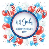 Independence day with balloons and fireworks on white background. Text Independence day 4th of July with round banner, balloons and rocket fireworks on white Stock Photo