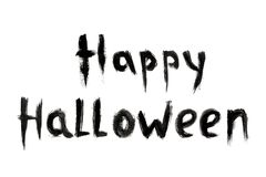 Text inscription Happy Halloween black color isolated on white background royalty free stock images