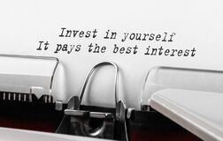 Free Text Invest In Yourself, It Pays The Best Interest Typed On Retro Typewriter Stock Photos - 198949513