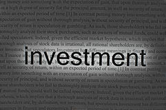 Text investment on paper Stock Photography