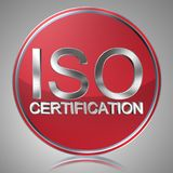 """Iso certification label. Text """"iso certification"""" in silver uppercase letters inside a red disc with a background of silver with reflection, standing for Stock Photos"""
